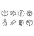 delivery box elevator and parcel tracking icons vector image