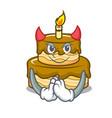 devil birthday cake mascot cartoon vector image