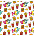 fastfood seamless pattern bright cartoon vector image vector image