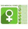 Female Symbol Icon and Medical Longshadow Icon Set vector image