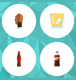 flat icon beverage set of juice soda bottle and vector image vector image