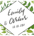 floral wedding invite save the date with leaves vector image