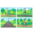 four bright posters with cute summer landscapes vector image vector image