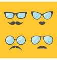 Glasses and mustache lips moustaches face icon set vector image vector image