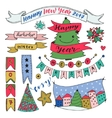 Hand drawn New Year collection with ribbons and vector image vector image
