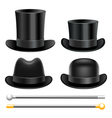 Hats and walking sticks vector image vector image