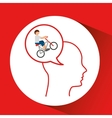head silhouette cyclist extreme sport vector image vector image
