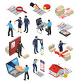 isometric assessor icon set vector image vector image