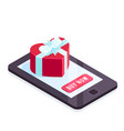 isometric gift on the smartphone screen vector image vector image