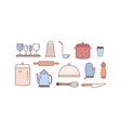kitchenware linear icons set various vector image vector image