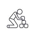 man taking bricks linear icon sign symbol vector image vector image