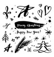 merry christmas and happy new year elements vector image