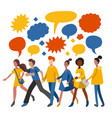 minimalistic people sharing ideas talking vector image vector image