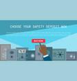 money safe steel vault door banner safety vector image vector image