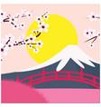 mount fuji sakura bridge sunset background vector image