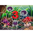 Number three with three spiders on web vector image vector image