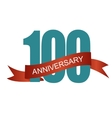 One Hundred 100 Years Anniversary Label Sign for vector image