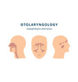 otolaryngology - ear nose and throat health icon vector image vector image
