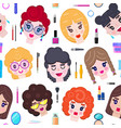 pattern with girls faces vector image vector image