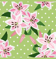pink lily on green background pattern vector image vector image