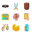 pirated thing icons set cartoon style vector image vector image