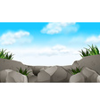 Scene with stone and grass vector image vector image