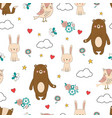 seamless forest animals background vector image