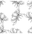 seamless pattern flower ink sketch vector image vector image