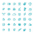 set coffee and tea related line icons vector image vector image