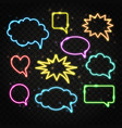 set colorful neon speech bubbles with space vector image