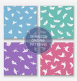 set colorful seamless origami patterns vector image vector image