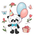 set little panda and flowers hand drawing vector image vector image