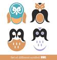 set of symbols owl vector image vector image