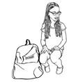 sitting young school girl vector image vector image