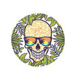 skull with round tropical border vector image vector image