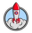 Starting up rocket emblem vector image