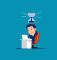 stressed worker with hourglass that almost run vector image vector image