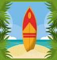 summer beach in the seashore with surfboard and vector image