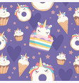 unicorn pattern dessert decoration magic pony vector image vector image
