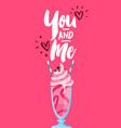 valentines day pink milkshake drink card vector image vector image