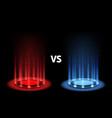 versus battle portal magic with neon blue vector image vector image
