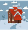 winter meadow landscape scenic with small house vector image