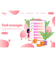 woman feel in check boxes in to do list vector image vector image