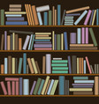 wooden bookcase with bright and colorful books vector image