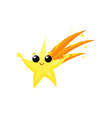 yellow falling star with cute face and little vector image vector image