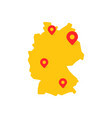 yellow germany map with geo tag vector image vector image
