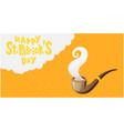 happy st patrick s day pipe orange background vect vector image