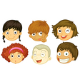 Six heads of different kids vector image