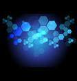 abstract blue hexagon light technology data vector image