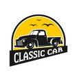 ancient pick up car logo design vector image vector image